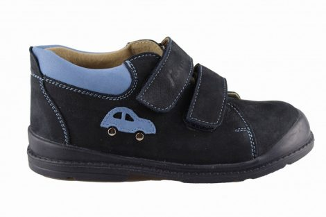 Salus fiú supinált cipő, kék, oldalán autó